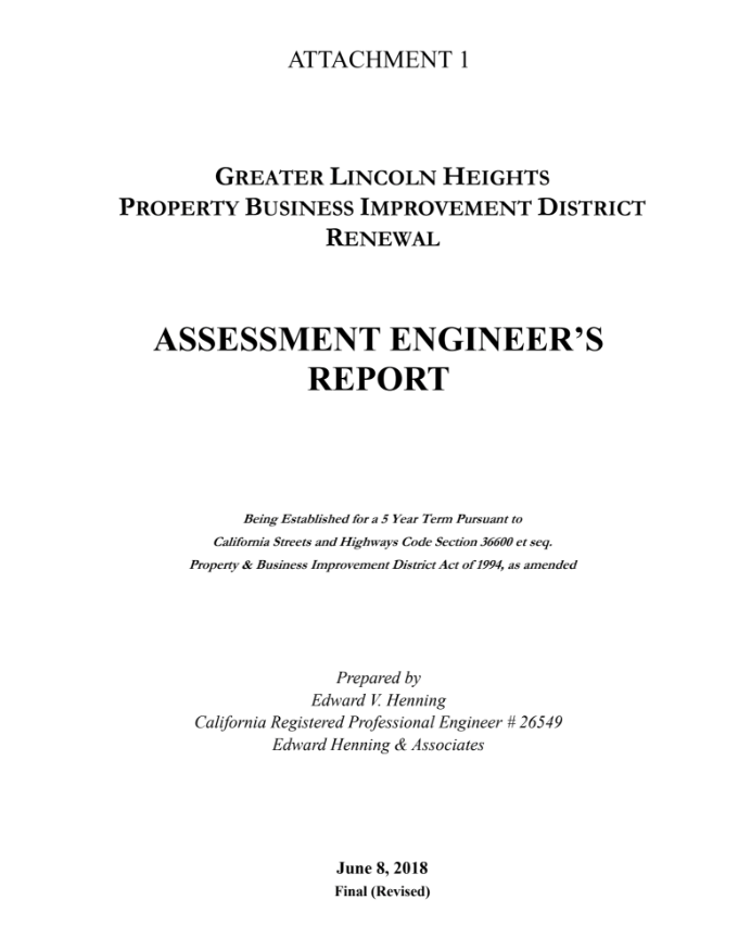 Assement Engineers Report Lincoln Heights